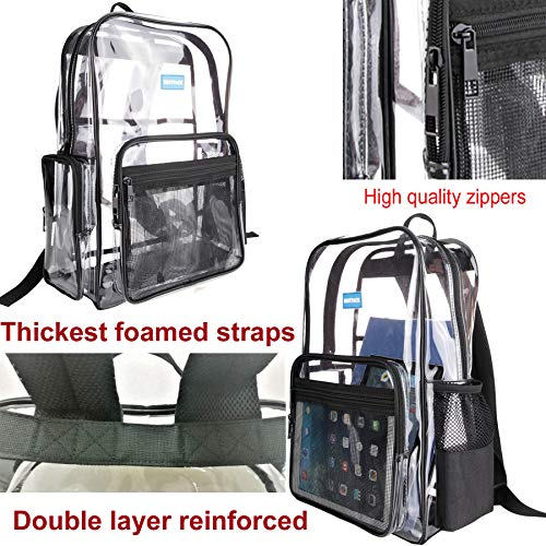 kpack with Strong Reinforced Straps, Transparent PVC Bag with Multi Pockets for School Students, Outdoor Sports or Travelling (Black) ()