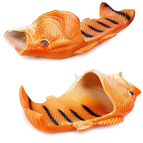 Women Fish - Couple Fish Slippers for Men and Women Creative Funny Beach Cool Non-Slip Fashion House Sandals Outdoor (US 10.5-11-women/US 8.5-9-men, Orange)