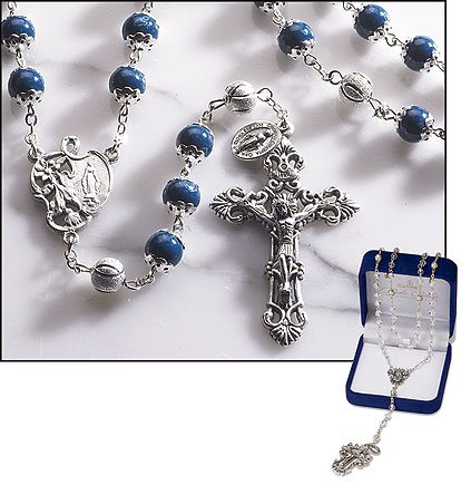 Collection Renaissance Cross (Gifts of Faith Milagros Catholic Marble 8mm Bead Rosary Paola Carola Collection Dark Blue Color)