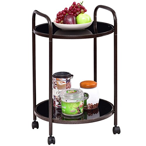 GHP Black Steel & Tempered Glass 2-Tier Round Rolling Kitchen Trolley Serving Cart by Globe House Products