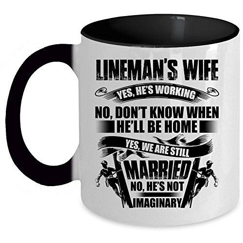 Gift For Lineman Coffee Mug, Lineman's Wife Accent Mug (Accent Mug - Black)