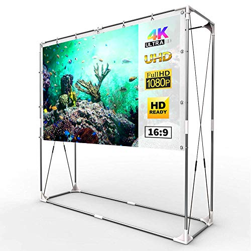 (JaeilPLM 120-Inch Portable Projector Screen, Indoor Outdoor Compatible with Rectangle Stand for Home Theater, Gaming, Office)