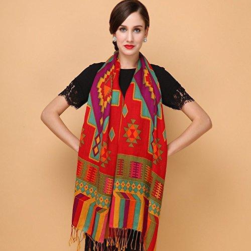 RENYZ.ZKHN National Wind Scarf Long Spring and Autumn Square True Silk Scarf Damens Winter Shawl 65  200Cm