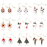 Miraculous Garden 9 Pairs Christmas Drop Dangle Earrings Jewelry Set for Thanksgiving (9 Pairs)