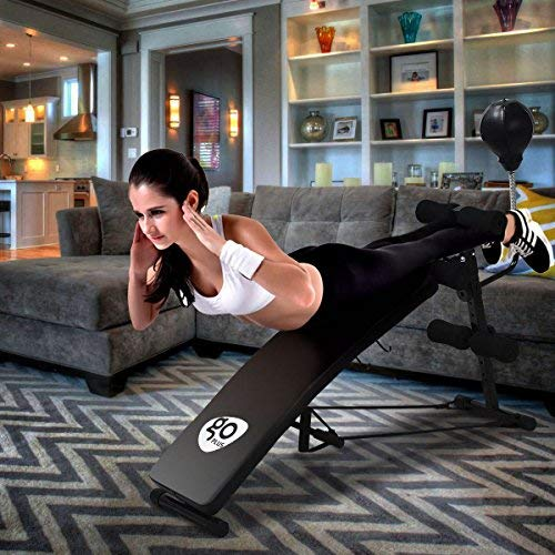 Goplus Adjustable Weight Bench Incline Workout Beach Curved Sit Up Bench Board W/Speed Ball and Pull Ropes