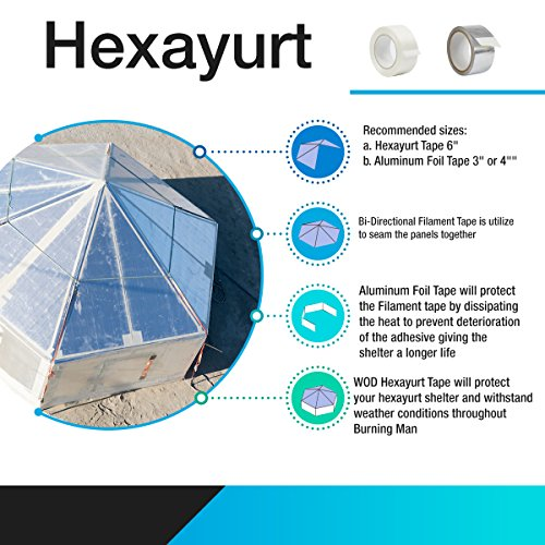 WOD HXT HEXAYURT Tape Aluminum Foil Tape Premium Grade General Purpose Heat Shield Resistant - Good for HVAC, Air Ducts, Insulation (Available in Multiple Packs): 3 in. Wide x 50 yds. by WOD Tape (Image #4)