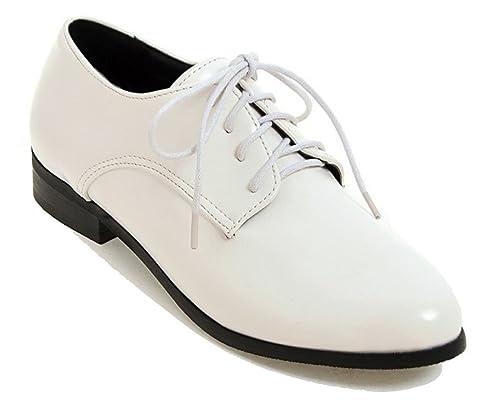 7c115bd77be HiTime - Zapatos Planos con Cordones de Piel Mujer