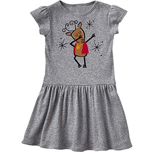 Dancer Reindeer (inktastic Dabbing Dancer Reindeer Toddler Dress 5/6 Heather Grey 2dde0)