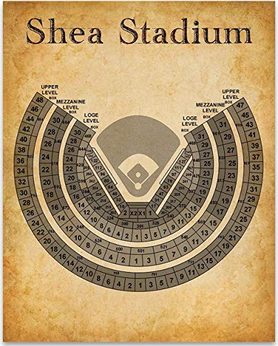 Shea Stadium Baseball Stadium Seating Chart Art Print - 11x14 Unframed Art Print - Great Sports Bar Decor and Gift Under $15 for Baseball - Print Stadium Personalized
