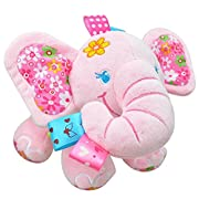 Naovio Elephant Musical Doll Developmental Toy Cotton Material,Pink