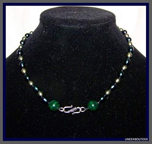 vanyjewl VANY Hand Knotted Tahitian Pearl & Malachite Necklace - OOAK Reversible Necklace - June Birthstones - Heart Chakra Stones - Modern Classic -