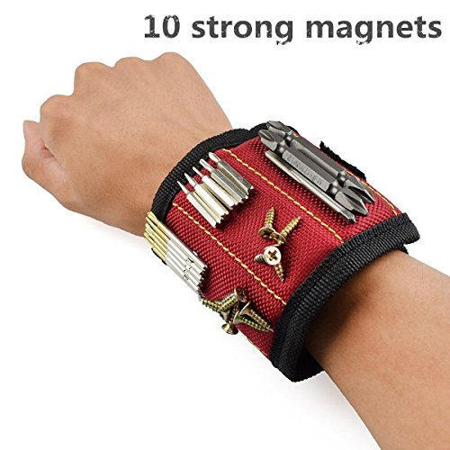 Powerful magnetic wristband to hold screws and tools