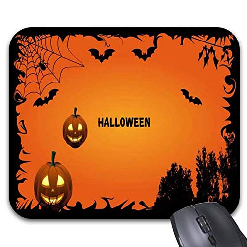 Mousepad Scary Halloween Bat and Pumpkins Mouse Mat for $<!--$13.00-->