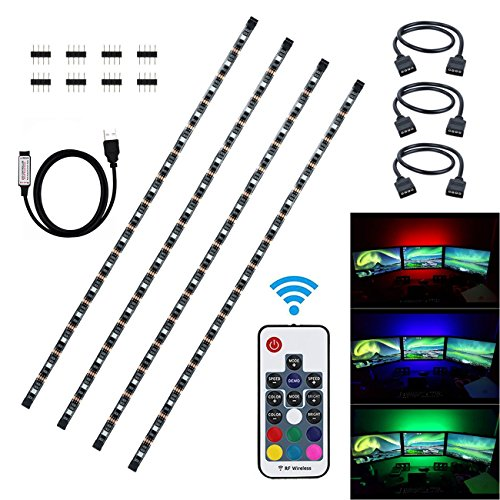 Litupliv USB LED Strip Light Kit, 4 x 1.64ft Waterproof 5050 RGB LED Light Strip with 17 Keys RF Wireless Remote Controller for HDTV Flat Screen LCD, Desktop PC Background Lighting (2M/4x1.64ft) (Halloween Desktop Backgrounds Hd)