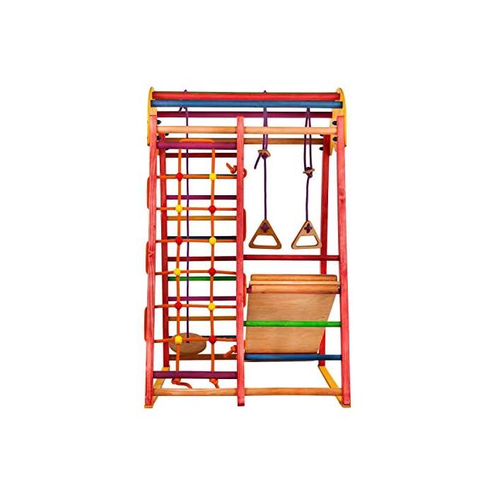 518ZYgQo YL ?TERRENO DE DIVERSIÓN - ¡Los niños se divertirán mucho con este gimnasio! Incluye una escalera sueca, una red para trepar, anillos para columpios y un tobogán ¡Perfecto desatar la energía! ?DESARROLLO FÍSICO - Nuestro gimnasio anima a los niños a mantenerse activos. Las actividades físicas regulares contribuyen a su salud y crecimiento, logrando un corazón, huesos y músculos fuertes. ?PARA COMPARTIR - Este equipo de juegos tiene una capacidad de peso de hasta 60 kg, perfecto para 2 niños de 1 a 5 años y mayores! Brinda un gran modo de mejorar las habilidades sociales a edad temprana.