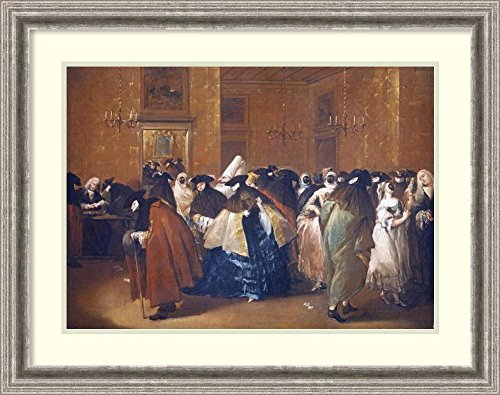 Framed Art Print 'Ladies and Gentlemen In Carnival Costume In The Ridotto, Venice' by Francesco (Costume Francesco)
