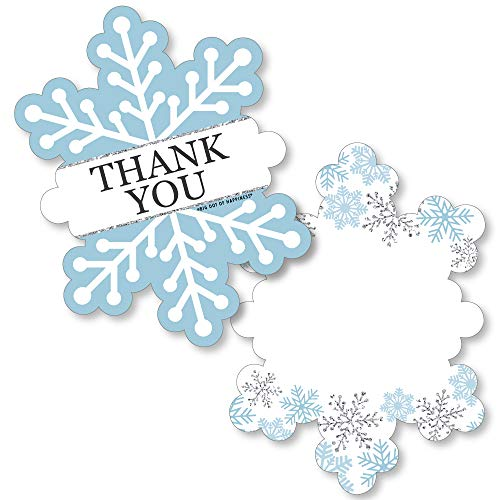 Big Dot of Happiness Winter Wonderland - Shaped Thank You Cards - Snowflake Holiday Party and Winter Wedding Thank You Note Cards with Envelopes - Set of 12 (Thank You Card Snowflake)