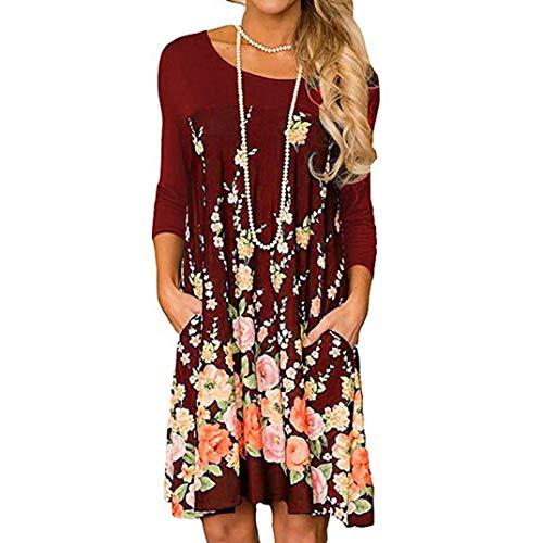 Womens Red Neck Casual Floral Print Sleeve Pocket Fashion Dress Dress O Wine Long wStgawq