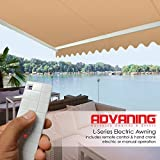 ADVANING EA1008-A100H2 Electric Luxury L Series Canopy Sun Shade Retractable Patio Awning, Khaki