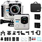 WiMiUS 4K Action Camera HD 20MP 30M Underwater Cameras Wifi Helmet Cam 170° Wide Angle 2.0 LCD Screen Dual Rechargeable Batteries Portable Package Waterproof Case Kit of Accessories, L1, Silver