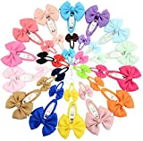 Mixed 20 Pairs Snap Hair Clips Fabric Ribbon Barrettes Hair Pins For Baby Girls Teens Toddlers Children Kids (20 Colors/40Pcs)