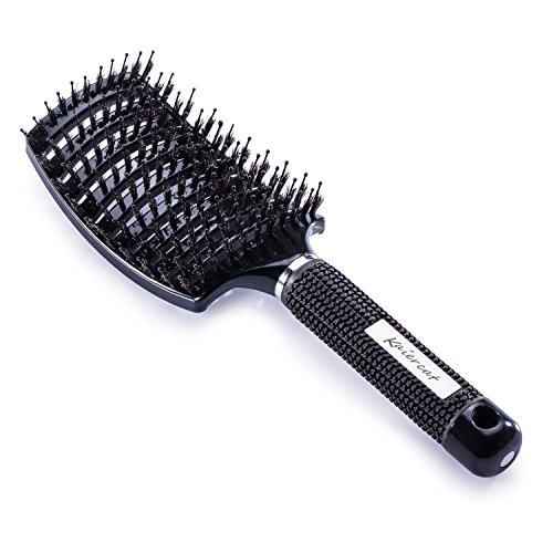 Kaiercat Boar Bristle Brush-Best at Detangling Thick Hair Vented For Faster Drying-100% Natural Boar Bristles for Hair Oil Distribution (Black)
