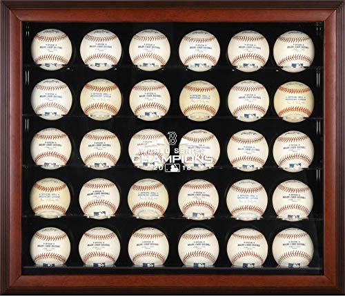Sports Memorabilia Boston Red Sox 2018 MLB World Series Champions Mahogany Framed Logo 30-Baseball Display Case - Baseball Wall Mountable Display Cases