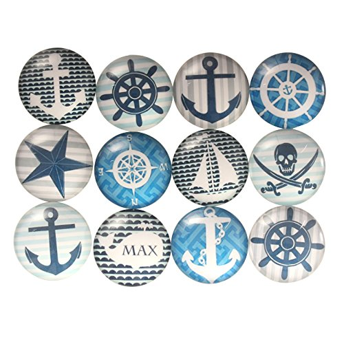 Zicome Nautical Fridge Magnets Set of 12 (Christmas Chalk Art Photos)