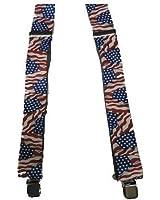 "Men's U.S. Waving Flag ""Old Glory"" Adjustable XL Clip-on 2""W Suspenders"