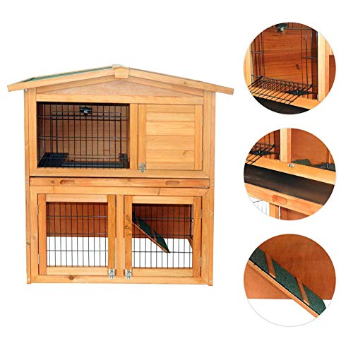 Ooscy 2 Tiers Rabbit Bunny Rabbit Hutch Wooden Bunny Cage Pet House Coop for Small Animals, Durable Chicken Coops Chicken Cages Rabbit Cage