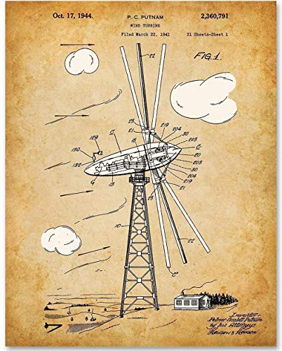 Wind Turbine - 11x14 Unframed Patent Print - Makes a Great Gift Under $15 for Home Decor
