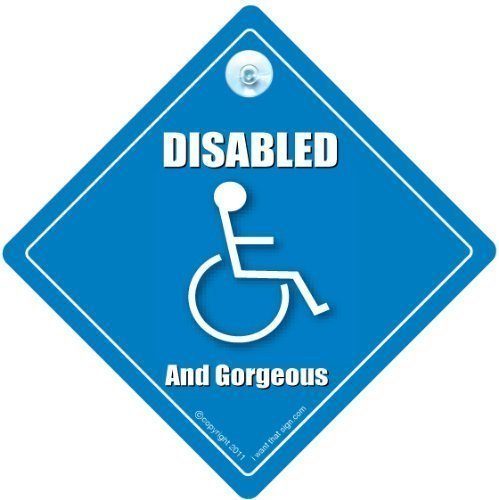 RETIREMENT SIGNS DISABLED AND GORGEOUS Car Window Sign, Baby on Board Style, Disabled Symbol, Disability Motoring Sign iwantthatsign.com DAGCS