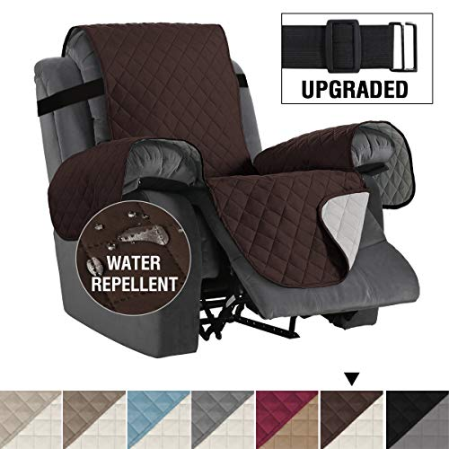 "H.VERSAILTEX Reversible Recliner Cover Recliner Slipcover Recliner Furniture Protector 2"" Elastic Strap Slip Resistant Water Repellent Slipcover Seat Width Up to 22"" (Recliner, Brown/Beige)"