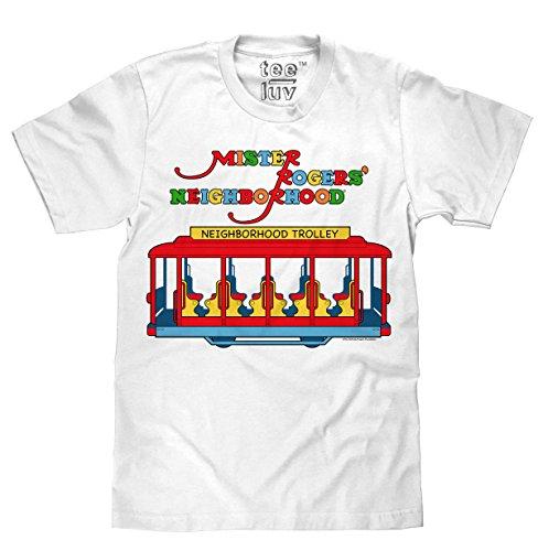 Tee Luv Mister Rogers Neighborhood Trolley T-Shirt (Medium) White