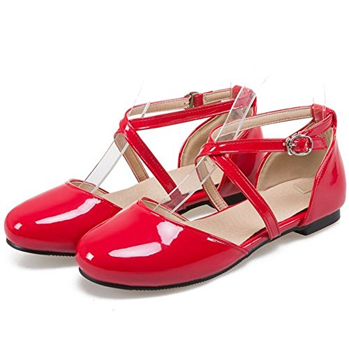 Flat Women 3 Shoes Red Sweet Zanpa wE4dqOW