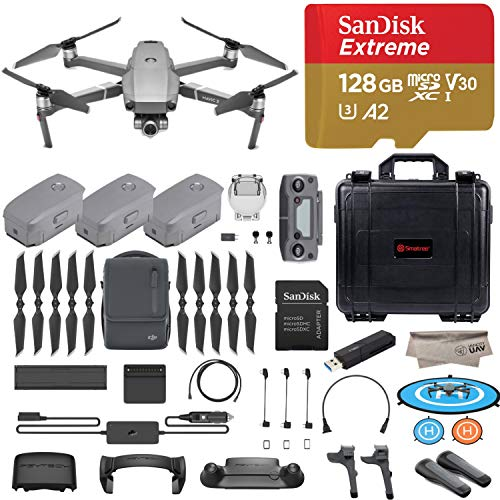 2018 Version DJI Mavic 2 Zoom Drone Quadcopter with Fly More Combo, 12MP 2X Optical Zoom 1/2.3″ CMOS Sensor, 128GB High Speed Micro SD, Landing Gear, Prop Holder, Stick Protector, Extra Hard Case