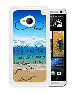 Beautiful Designed Cover Case For HTC ONE M7 With Pop infinity anchor with love and sandy beach design S White Phone Case