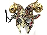 MasqStudio Gold accent Goat Mask Animal Ram Venetian Masquerade Halloween Cosplay Big Horns mask