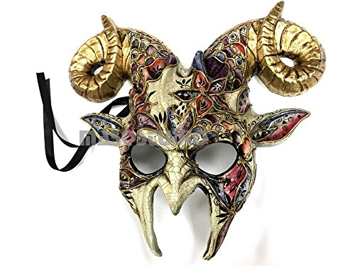 Gold accent Goat Mask Animal Ram Venetian Masquerade Halloween Cosplay Big Horns mask -