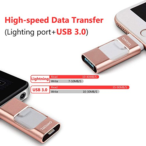 USB Flash Drives Compatible iPhone/iOS 128GB [3-in-1] Lightning OTG Jump Drive, ONTOTL USB 3.0 Thumb Drive External USB Memory Storage, Flash Memory Stick Compatible Apple, iPad, Android & PC (Pink) by ONTOTL (Image #2)