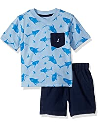 Nautica Baby Boys' Two Piece Set with V-Neck Pocket Tee and Pull on Short