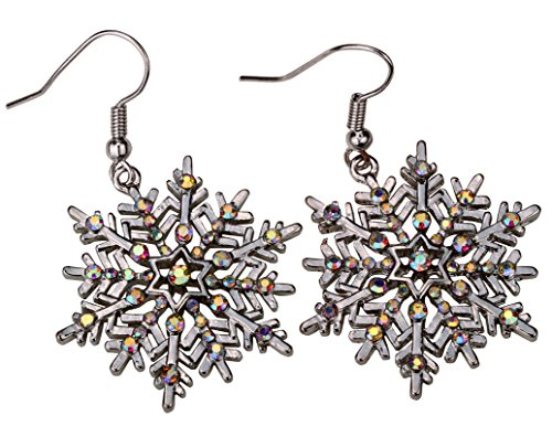 Szxc Women's Snowflake Dangle Earrings - Color Changing Crystals - 2 Inch - Ultra Light - Lead & Nickle Free - Christmas Holiday Jewelry (Silver AB) (Dangle Silver Christmas Tree Earrings)