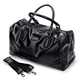 WTING Men's Pu Traveling Luggage Bag Black Handbagsolid Color Soft Solid Color