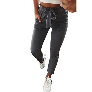 3a8d2136f542d Sunenjoy Pantalons Rayures Taille Haute Femme Printemps Été Coton  Décontractée Casual Slim Chic Mode Trousers avec