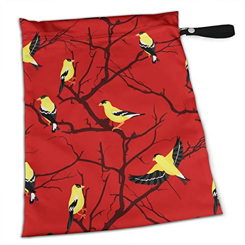 Pumnims Goldfinches in The Trees for Swimsuit and Towels Waterproof Kids Baby Boy Clothes Diaper Hanging Reusable Menstrual Sanitary Cloth Pads Handle Wristlet Portable Wet-Dry Bag