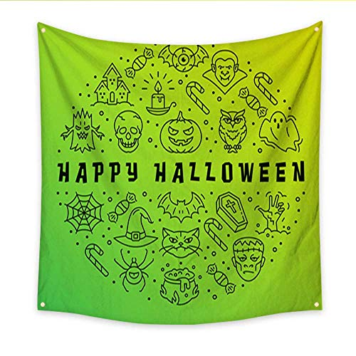 Anniutwo Apartment Decor Tapestry Happy Halloween Card Gradient app Background Halloween Circle infographics Vector Halloween Illustration Blanket Home Room Wall Decor 32W x 32L -