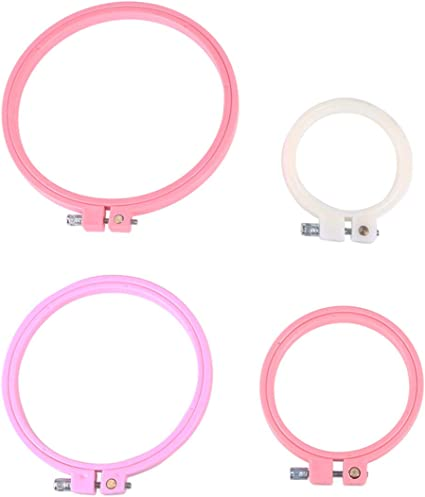 HEALLILY Embroidery Hoops Multicolor Plastic Cross Stitch Hoop Circle Adjustable for DIY Embroidery and Cross Stitch 4PCS Random Color