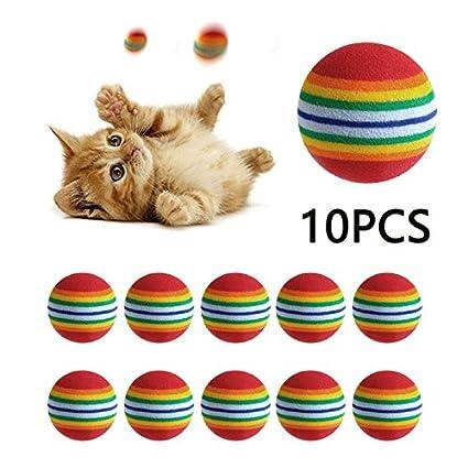 LVEDU 10 piezas coloridas pelota de juguete para gato interactivo juguetes para gatos juguetes para masticar ...