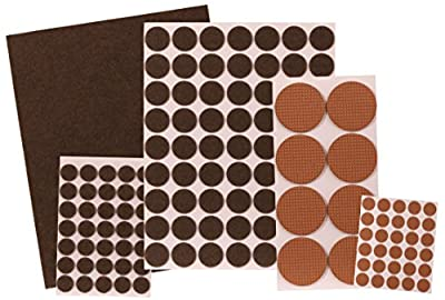 Supply Guru Self-Stick Premium Felt and Rubber Pads / Surface Protection Assortment, Brown, 138 Pcs.