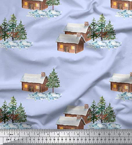 Soimoi Blue Moss Georgette Fabric Pine Tree & Cottage Nature Decor Fabric Printed BTY 42 Inch Wide